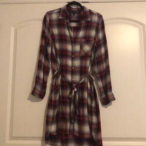 Flannel button up dress